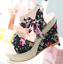 Fashion Summer Woman Floral Belt Bow Flip Flops High-heeled Shoes Wedges Sandals