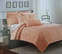 Nip Max Studio Home Full/queen Quilt Coral Reversible Shirred 88x 92 Cotton