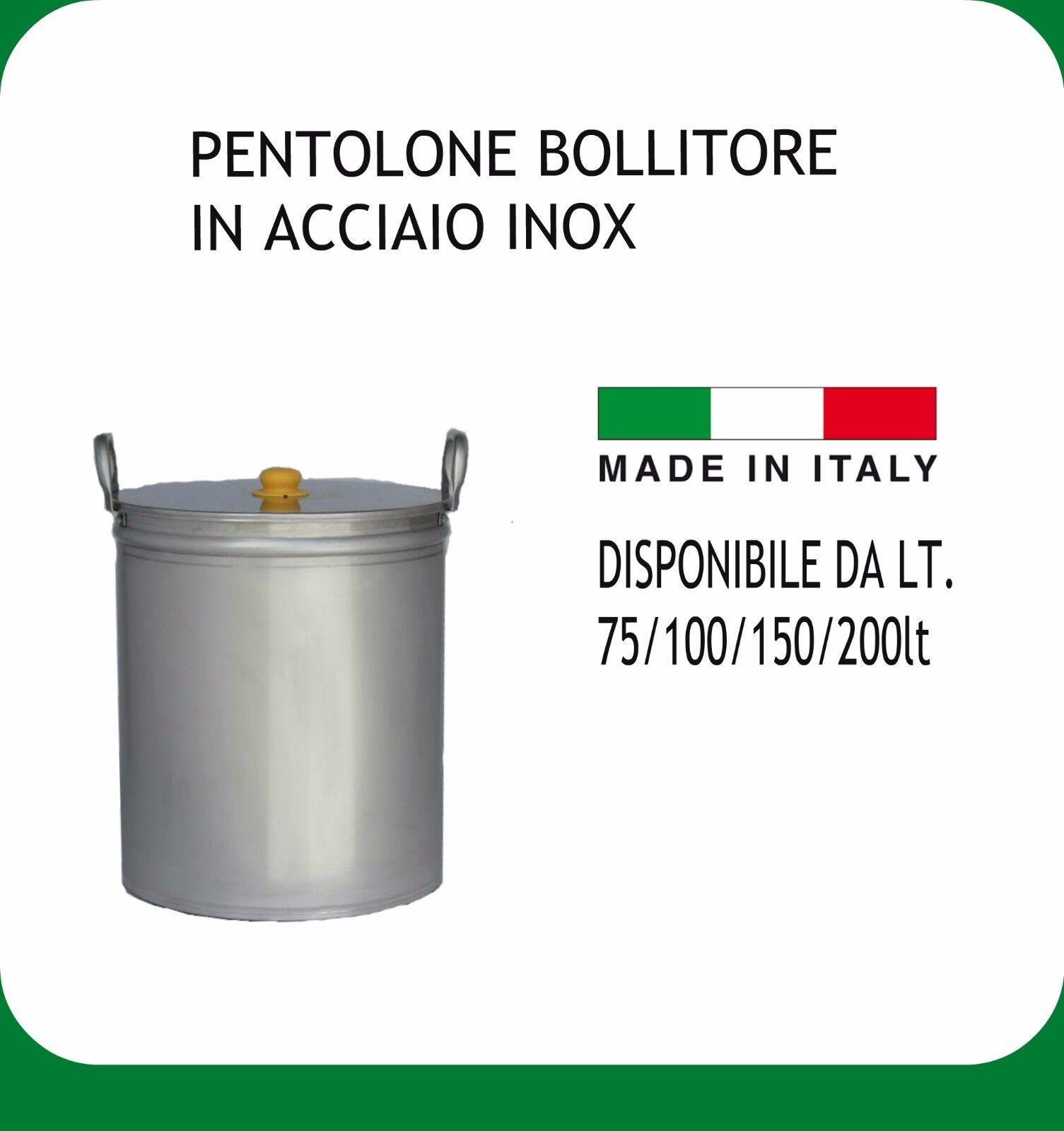 PENTOLONE INOX 18 10  LT.100 COMPLETO DI MANICI