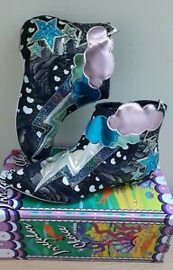 Irregular-Choice-Electric-Buzz-black-silver-lightning-flat-ankle-boots-UK-7-EU40