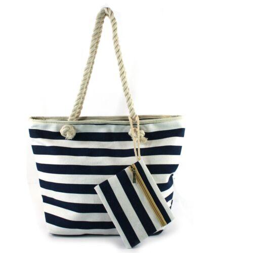 Blue /& White Large Beach Bag /& Purse Zip Fastener Sea Side Travel Holiday Beach