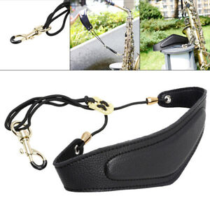 Universal Saxophone Neck Strap with Snap Hook Soft PU Leather for Alto Baritone Soprano Sax