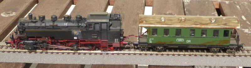 Fleischmann 4087 Dampflok BR 86 184 DR Ep.3 DCC Sound, gealtert, brünierte Räder