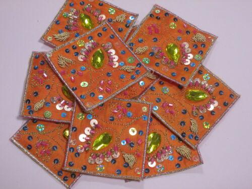 Orange Sequin Beaded Gem Embroidered Crafts Motifs Swatches #6R41 Set of 10