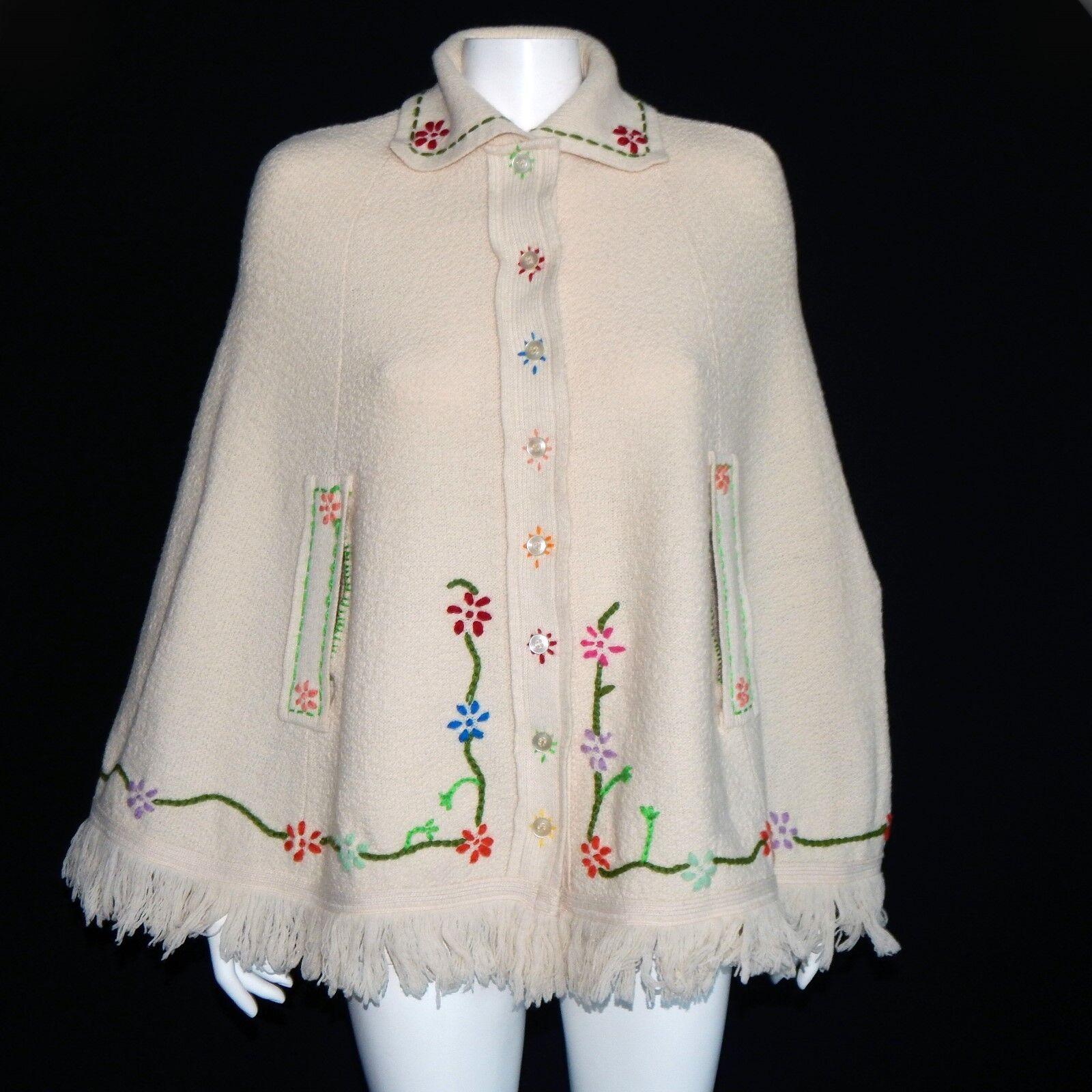 SWEETREE Whimsical Boho Embroidered Poncho Shawl Rainbow Floral -INV1618