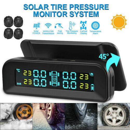 USB Solar Wireless Car TPMS Tire Pressure Monitor System w//4 External Sensors