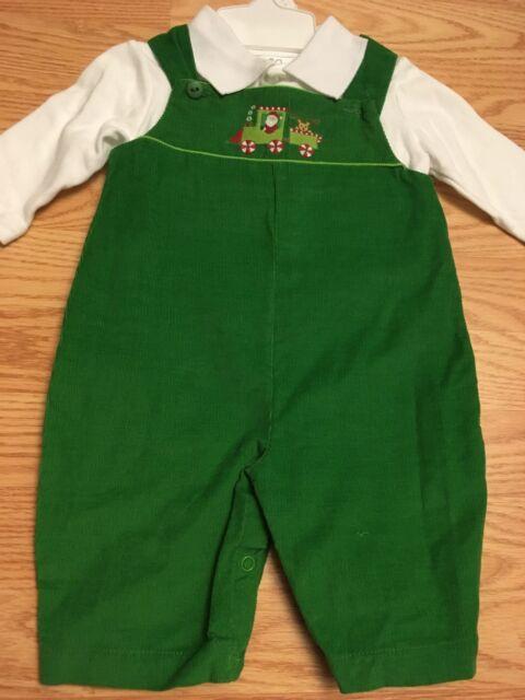 195e65dbe Petit Ami Baby Boy Soft Corduroy Green Holiday Santa Romper Longalls ...