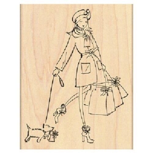 PENNY BLACK RUBBER STAMPS GIFTS GALORE LADY SHOP WITH DOG NEW 2012 STAMP