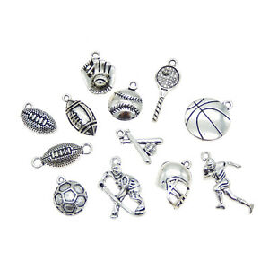 Pack-of-12-Mix-Vintage-Silver-Metal-Balls-Sports-Pendants-Charms-Craft-Findings