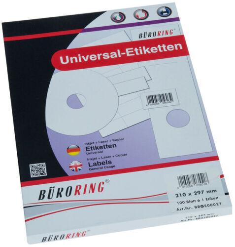 Etiketten A4 210x297mm 100 Etiketten 100 Blatt  Laser Copy InkJet BRG500027 NEU
