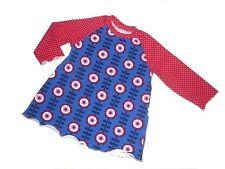Handmade süßes Langarm Shirt / Tunika Gr. 74 / 80 blau-rot Punkte + Blumen !