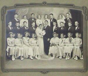 1920s-Original-Large-Sepia-Gelatin-Silver-Fancy-Wedding-Photograph-Pennsylvania