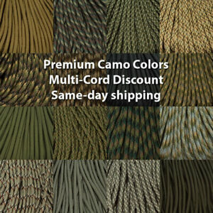 550 Paracord Premium Camo Colors 10, 25, 50 & 100 Ft USA MADE same day shipping