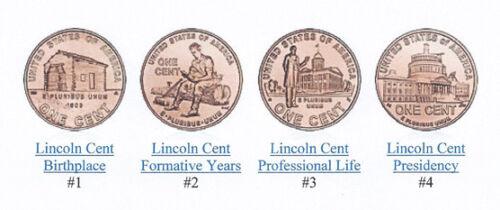 2009 P-D BU Lincoln Cents Complete Bicentennials 8 coins LP-1,LP-2,LP-3,LP-4