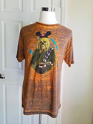 Disney Parks Chewbacca Shirt Adult Large Mickey Mouse Ears Star Wars World Land