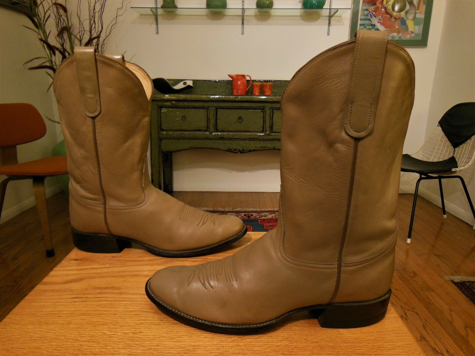 Pre-owned TONY LAMA Men's Light Brown Leather Western Cowboy Boots 10D SWEET