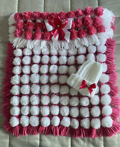 Pram Luxurious Baby Pom Pom Blanket Car Seat Cover in Pink /& White Mix