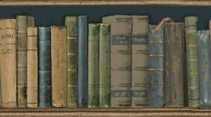 Wallpaper-Border-Antique-Bookshelf-Books-Gray-Green-Blue-Tan-on-Navy