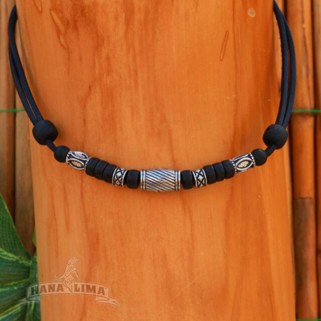 Surfer Kette vintage Leder Halskette Lederkette Surferkette Anhänger Talisman 12