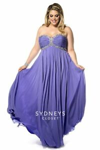 Details about Sydney\'s Closet SC7147 Iris Chiffon Stunning Plus Size Gala  Gown Dress sz 14 NWT