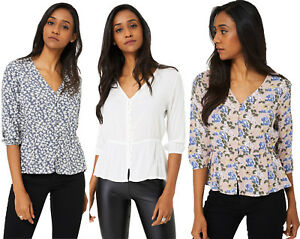 P29-Ladies-Floral-Button-Front-Smock-Blouse-Top-Elasticated-Cuffs-8-10-12-14