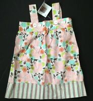 Icky Baby Boutique Girl Pink Brown Floral Striped Tank Cotton Dress 3 3t