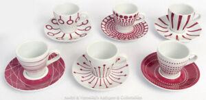 BODUM-SET-6-ESPRESSO-CUPS-Pink-Geometric-Abstract-Pattern-Modern-Design-Coffee