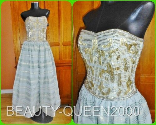 Vtg 70s 80s VICTORIA Glass Beads Embroidered Royal Wedding Party Maxi DRESS GOWN