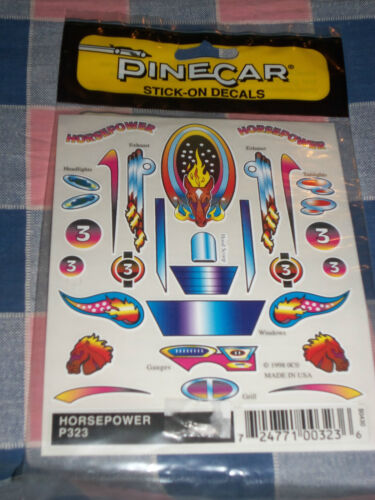 "NIP Pinecar Stick-On Decals Sheet 5 x 4/"" Pinewood Derby Scrapbooking Use Drop Bo"
