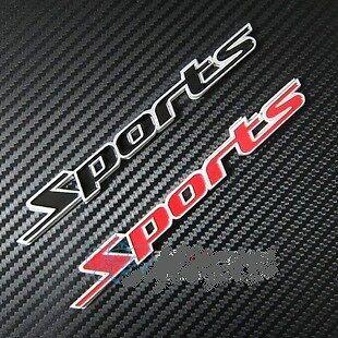 Red Logo Car Aluminum Emblem Badge Plate /'Sports/' Racing Black