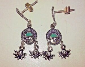 Peruvian 950 sterling silver sun god earring made with turquoise natural stone