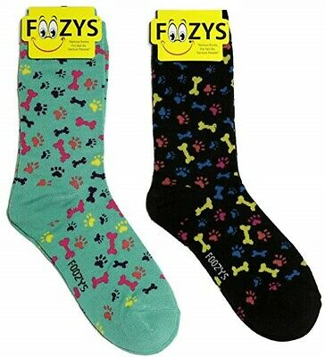 2 Pairs Dog w//Bone Print Foozys Novelty Fun Socks Womens Girls Red Black New