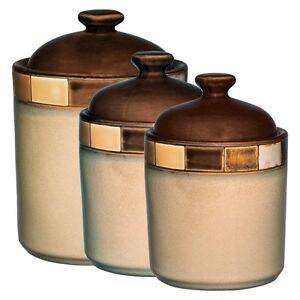Details about GIBSON CASA ESTEBANA 3 pc BROWN and BEIGE STONEWARE KITCHEN  CANISTER JAR SET
