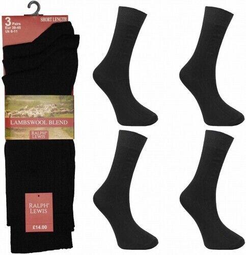 6 Paia di Calzini da uomo 100/% COTONE COMFORT Nero Calze Uomo Vestito Tg UK 6-11