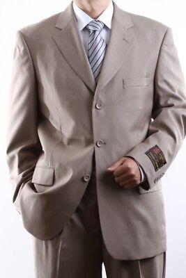 Pl-60513-tan Suits & Suit Separates Men's Clothing Men's Single Breasted 3 Button Tan Dress Suit Size 36s