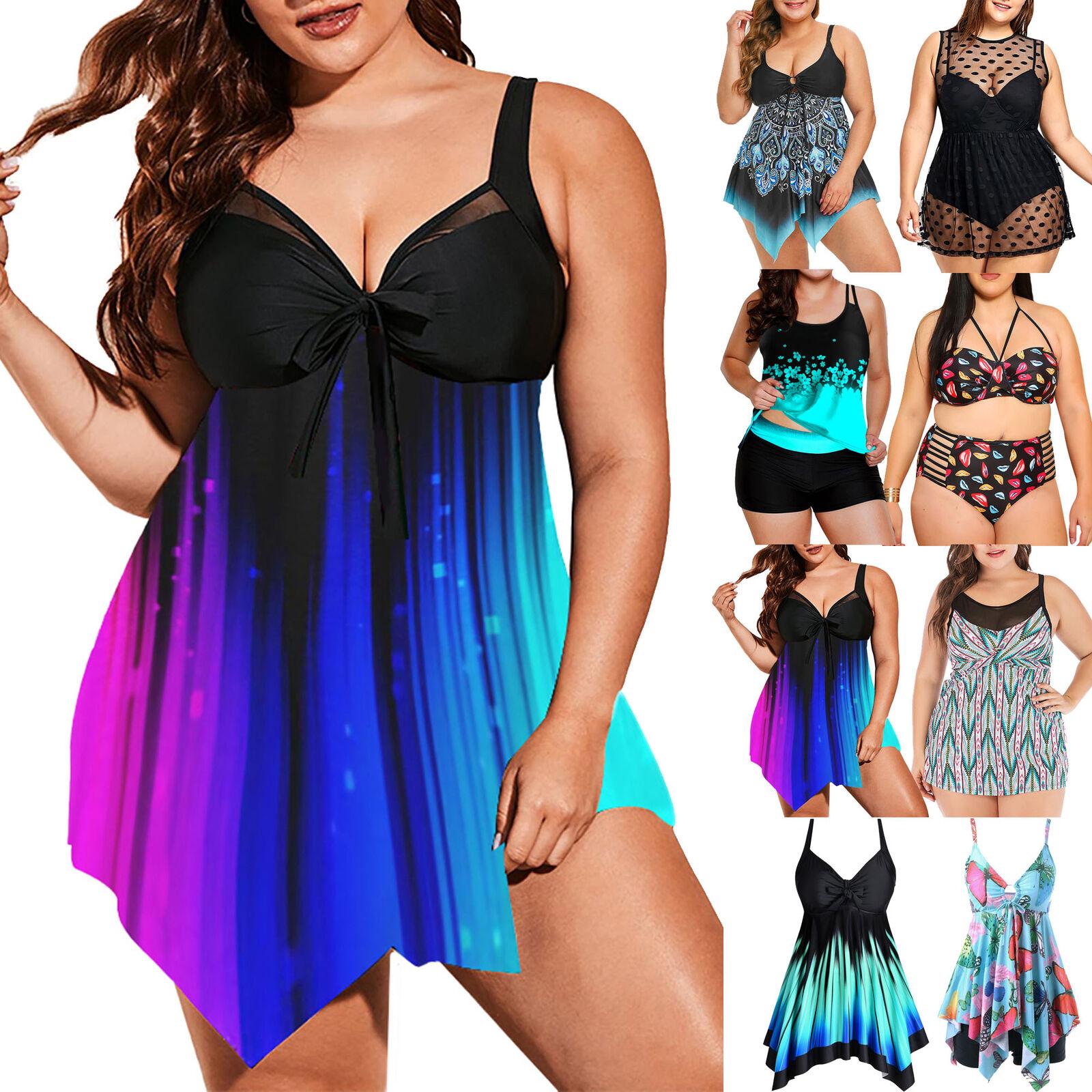 ✅ Übergröße Damen Tankini Set Bademode Badeanzug Schwimmanzug Badebekleidung