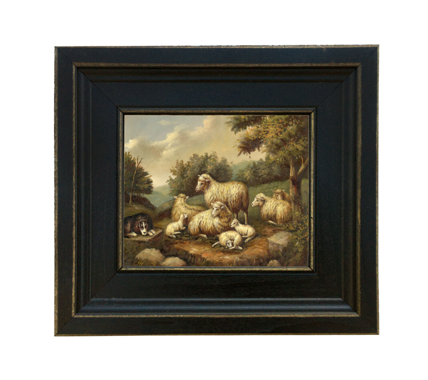 Sheep In Landscape Vintage Antique Farmhouse Style Painting Print Canvas Framed 2