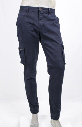 Pantalone Cotone Laterali Markup Tasche Fondo Elastico Blu Stretch Con rwr76n1