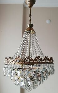 "French panier style vintage brass & cristaux lustre antique lampe"" 213-05"""