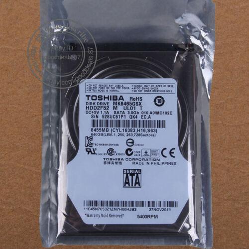 "1 von 1 - TOSHIBA 640 GB 2.5"" 5400 RPM SATA 8 MB Hard Disk Drive HDD Laptop MK6465GSX"