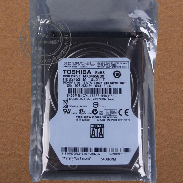 "TOSHIBA 640 GB 2.5"" 5400 RPM SATA 8 MB Hard Disk Drive HDD Laptop MK6465GSX"