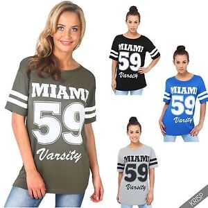 64e3d62b Image is loading Womens-Oversized-American-Varsity-T-Shirt-Baggy-Baseball-