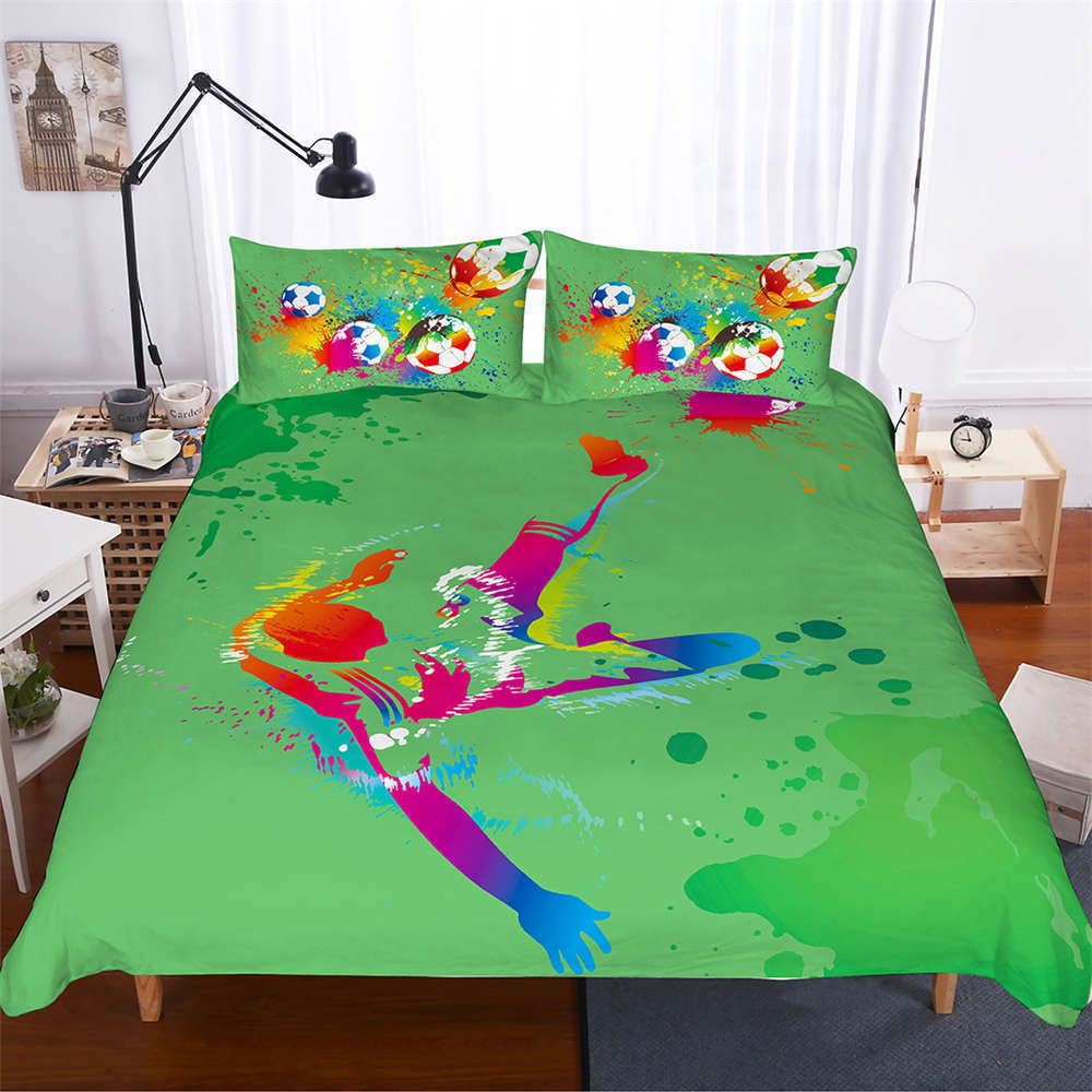 Brightly ColGoldt Football 3D Digital Drucken Bettding Duvet Quilt Startseite Pillowcase