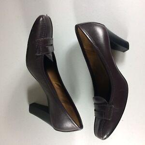 Antonio-Melani-Women-039-s-Size-6-5M-Dark-Brown-Leather-Pumps-Shoes-Career
