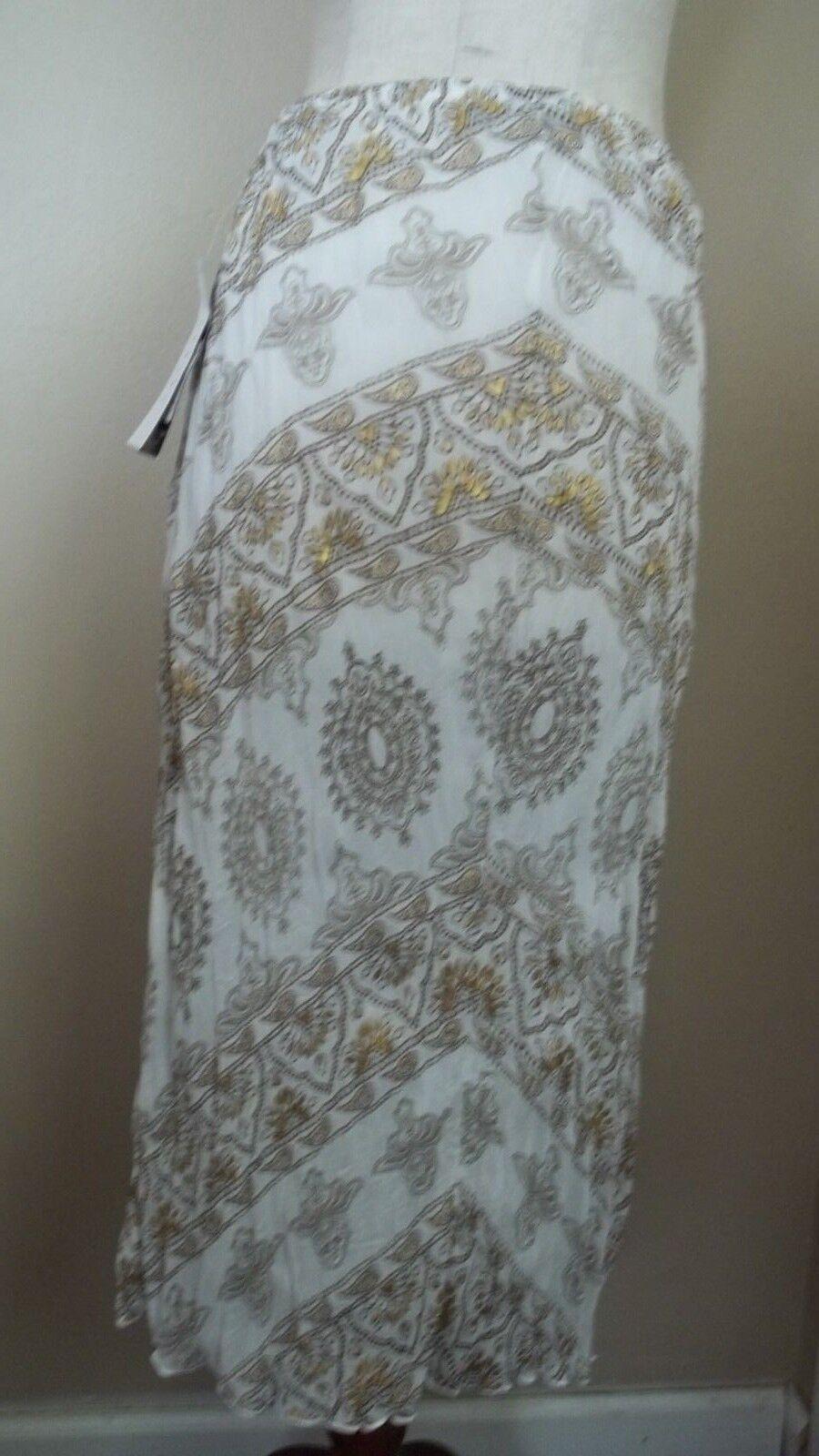TRIBAL WOMEN'S Elegant Full Skirt - Embellished White & gold - Size M - NEW