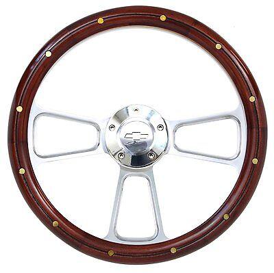 Chevelle Steering Wheel Real Wood /& Brass Rivets Billet /& Bowtie Horn Button