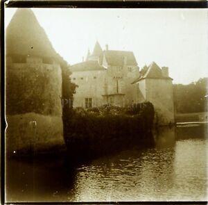FRANCE-Chateau-de-la-Brede-Montesquieu-Photo-Stereo-Vintage-Plaque-Verre-ca-1910
