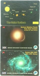 Malaysia-Used-Phone-Cards-3-pcs-The-Solar-System