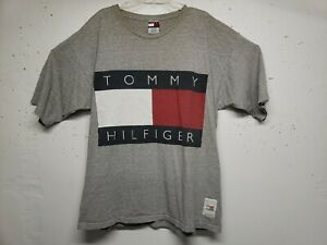 look out for innovative design pick up Details about Vintage 90's Tommy Hilfiger T Shirt Big Flag Box Logo  Spellout Gray Mens XXL USA