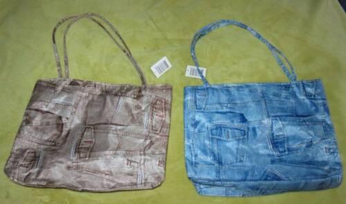 Whimsical Faux Denim Jean Zippered Tote Bag PURSE Waterproof